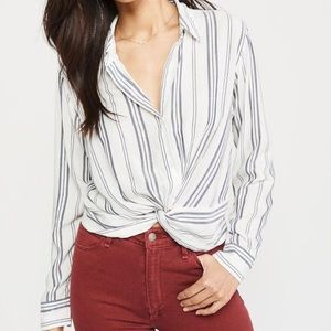 Abercrombie Striped Button Knot Front Blouse Small